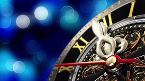 New Year`s at midnight - Old clock with stars snowflakes and holiday lights. 3d rendering Stock Images