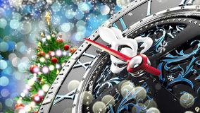 New Year`s at midnight - Old clock with stars snowflakes and holiday lights. 3d rendering 4K stock video footage