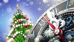 New Year`s at midnight - old clock with stars snowflakes and holiday lights. 4K royalty free illustration