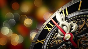 New Year`s at midnight - Old clock with stars snowflakes and holiday lights. 4K stock footage