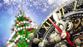 New Year`s at midnight - Old clock with stars snowflakes and holiday lights. 4K stock video footage