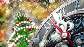 New year`s at midnight - old clock with stars snowflakes and holiday lights. 4K. 3d rendering stock footage