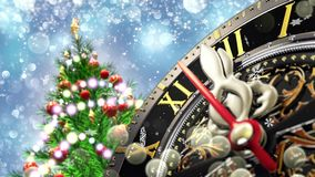 New year`s at midnight - old clock with stars snowflakes and holiday lights. 4K stock illustration