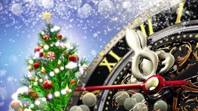 New Year`s at midnight - Old clock with stars snowflakes and holiday lights. 3d rendering Stock Photo