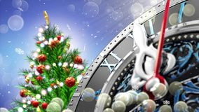 New Year`s at midnight - Old clock with stars snowflakes and holiday lights. 3d rendering Royalty Free Stock Photography