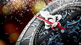 New Year`s at midnight - Old clock with stars snowflakes and holiday lights. stock video