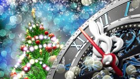 New Year`s at midnight - Old clock with stars snowflakes and holiday lights. 3d rendering 4K stock footage
