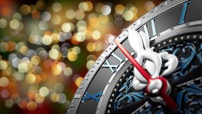New Year`s at midnight - Old clock with stars snowflakes and holiday lights. 3d rendering 4K stock video
