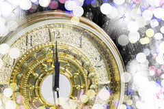New Year's at midnight time, Luxury gold clock countdown to new Stock Photography