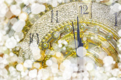 New Year`s at midnight time, Luxury gold clock countdown to new Stock Photos