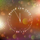 New year's at midnight. Vector illustration new year clock Royalty Free Stock Image