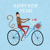 New year's Monkey cyclist illustration. Vector illustration with cute monkey on city bicycle with gift box in basket. New Year's symbol for your design Royalty Free Stock Photo