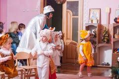 New Year`s morning in kindergarten editorial reportage Lutsk 21.12.2015. New Year`s  in kindergarten editorial reportage Ukraine Lutsk 21.12.2015 Royalty Free Stock Photography