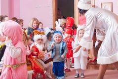 New Year`s morning in kindergarten editorial reportage Lutsk 21.12.2015 royalty free stock image
