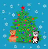 New year's natty fir tree with toy Royalty Free Stock Photo