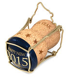New Year's night. Champagne blue cork  on white background Royalty Free Stock Photography