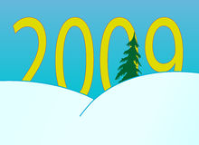 New Year's numbers over snowdrifts. New Year's and Christmass collection of illustrations Stock Images