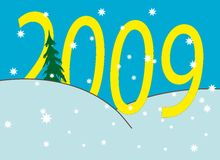 New Year's numbers over snowdrifts. New Year's and Christmass collection of illustrations stock illustration