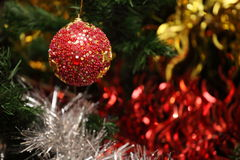 New Year's ornament. New Year's toy and tinsel in a holiday Royalty Free Stock Photography