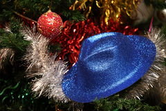 New Year's ornament. New Year's toy and tinsel in a holiday Stock Images