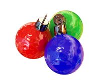 New Year's ornaments. Three rough New Year's balls royalty free illustration