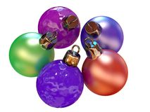 New Year's ornaments. Five color balls for a New Year tree vector illustration