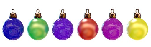 New Year's ornaments. Six color balls for a New Year tree stock illustration