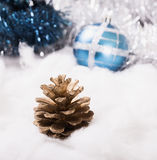New Year's ornaments Pine cone.  Stock Images