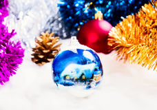 New Year's ornaments Pine cone.Christmas ,  cones, balls on snow. Stock Photography