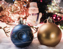 New Year's ornaments Pine cone snowman.  Stock Photography