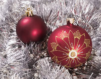 New Year's ornaments red. White Stock Image