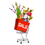 New Year's Ornaments On Shopping Cart Royalty Free Stock Image