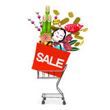 New Year's Ornaments On Shopping Cart Side View Stock Photos