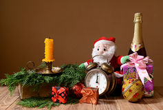 New Year's packages, ornaments and wine Royalty Free Stock Images