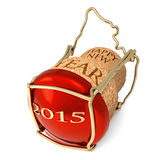 New Year's party. Champagne red cork  on white background Royalty Free Stock Photo