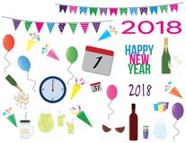 2018 new year`s party cliparts royalty free illustration