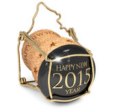 New Year's Party. Close up of champagne cork on white background Royalty Free Stock Images