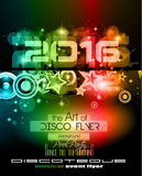 2016 New Year's Party Flyer for Club Music Night special events. Layout Template Background with music themed elements ans space for text Stock Photo