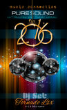 2016 New Year's Party Flyer for Club Music Nights. 2016 New Year's Party Flyer for Club Music Night special events. Layout Template Background with music themed Stock Photo