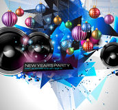 New Year's Party Flyer design for nigh clubs event. With festive Christmas themed elements and space for your text royalty free illustration