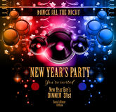 New Year's Party Flyer design for nigh clubs event. With festive Christmas themed elements and space for your text stock illustration