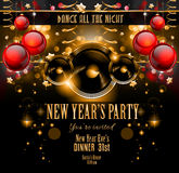 New Year's Party Flyer design for nigh clubs event. With festive Christmas themed elements and space for your text vector illustration