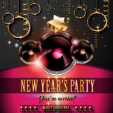 2015 New Year's Party Flyer design for nigh clubs. Event with festive Christmas themed elements and space for your text Stock Image