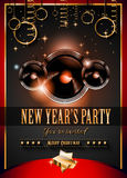 2015 New Year's Party Flyer design for nigh clubs. Event with festive Christmas themed elements and space for your text Royalty Free Stock Images