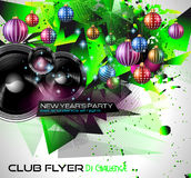 2015 New Year's Party Flyer design for nigh clubs. Event with festive Christmas themed elements and space for your text Royalty Free Stock Photos