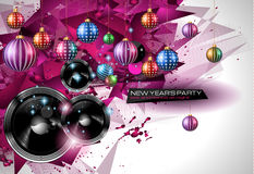 2015 New Year's Party Flyer design for nigh clubs. Event with festive Christmas themed elements and space for your text Stock Images