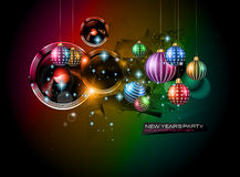 2015 New Year's Party Flyer design for nigh clubs. Event with festive Christmas themed elements and space for your text Royalty Free Stock Photography