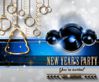 2015 New Year's Party Flyer design for nigh clubs. Event with festive Christmas themed elements and space for your text Stock Photography