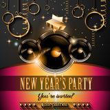 2015 New Year's Party Flyer design for nigh clubs. Event with festive Christmas themed elements and space for your text Royalty Free Stock Image