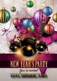 2015 New Year's Party Flyer design for nigh clubs. Event with festive Christmas themed elements and space for your text royalty free illustration